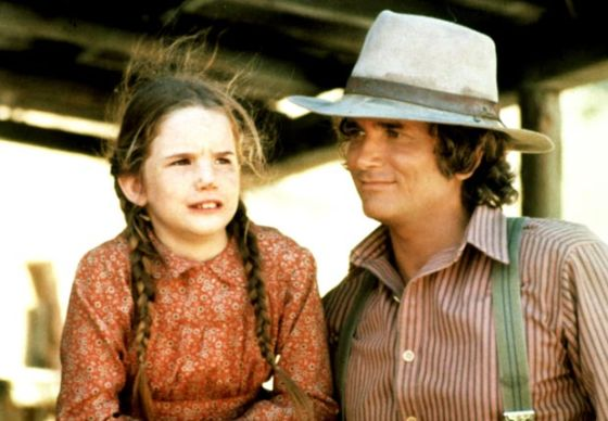 Child actress Melissa Gilbert with Michael Landon, Little House